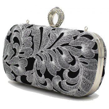 Vintage Style Embroider with Rrhinestone Ring Evening Clutch Bag - SILVER HORIZONTAL