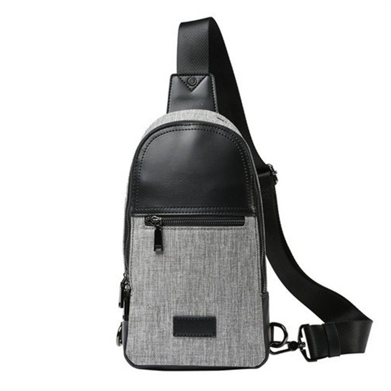 Gray Chest Pack Canvas Unbalance Backpack Single Shoulder Sling Bag - GRAY