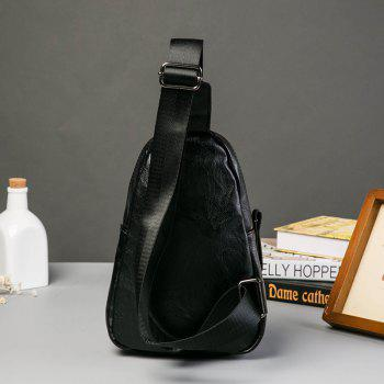 Leather Black Sling Bag Men Chest Pack Fashion Crossbody Handbag for iPad - BLACK