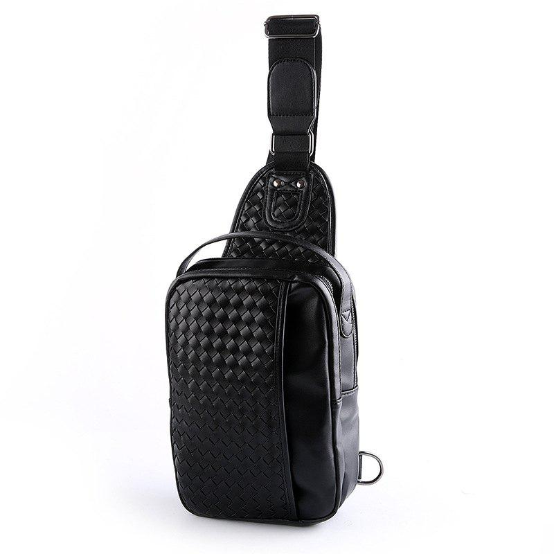 New Men Sling Bag Fashion Knitting Fashion Unbalance Backpack Chest Pack - BLACK
