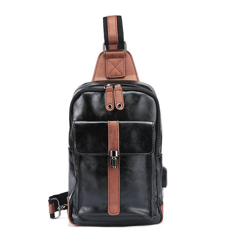New Men Chest Pack Zip Lock Sling Bag PU Leather Unbalance Backpack - BLACK