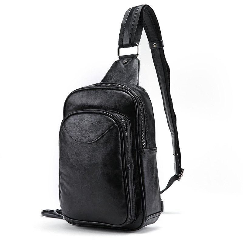Fashion Men Chest Pack Casual PU Leather Sling Bag Cycling Unbalance Backpack - BLACK