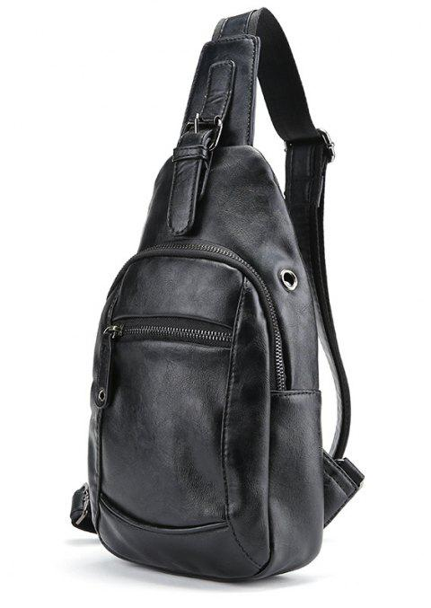 New Men PU Leather Chest Pack Casual Fashion Unbalance Backpack Sling Bag - BLACK