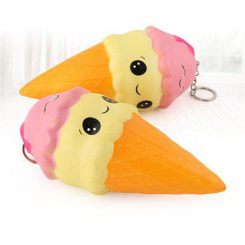 Simulation Big Double Head Smile Ice Cream PU Slow Rebound Jumbo Squishy Cake Bread Toy - COLOUR