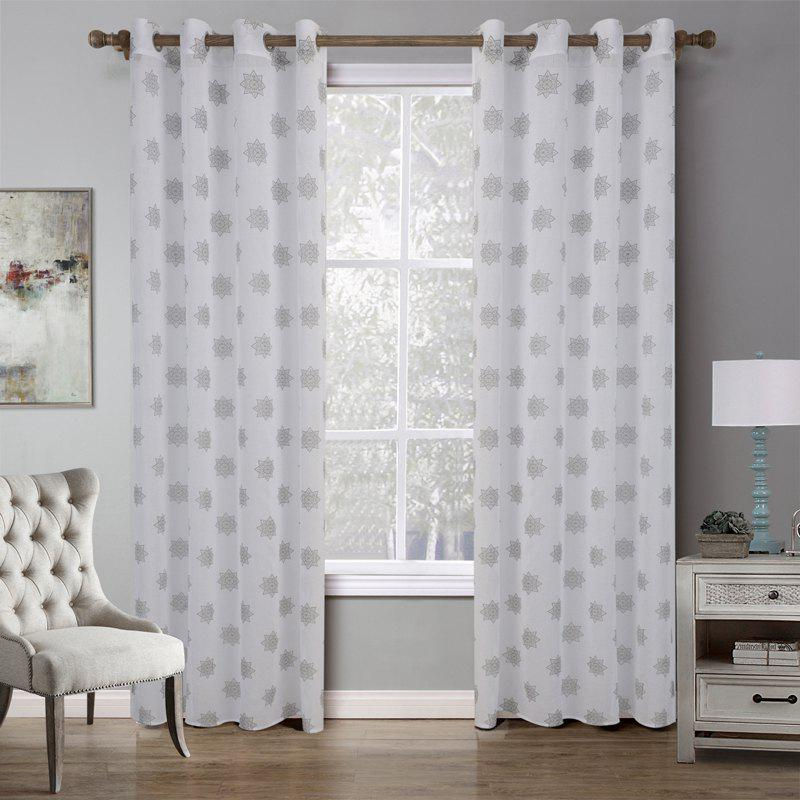 C21542 BBJHOME Doris Star Curtain for Bedroom - WHITE
