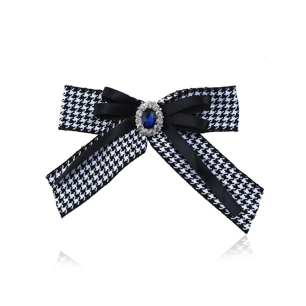 Double Bow Tie Campus Wind Tie Brooch - BLACK WHITE