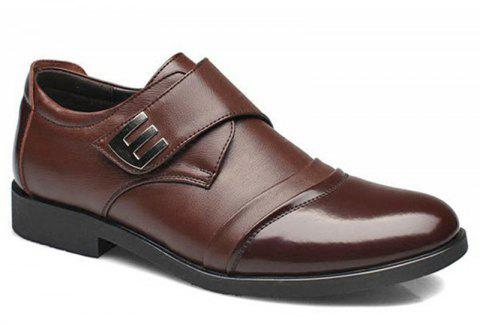 Men Classic Color Blocking Hook-Loop Business Casual Leather Shoes - BROWN 39