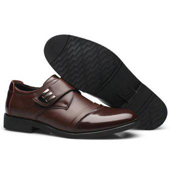 Men Classic Color Blocking Hook-Loop Business Casual Leather Shoes - BROWN 44