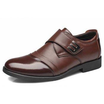 Men Classic Color Blocking Hook-Loop Business Casual Leather Shoes - BROWN 41