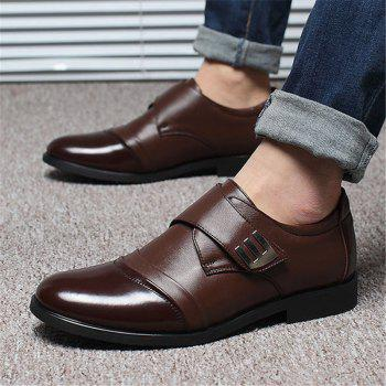 Men Classic Color Blocking Hook-Loop Business Casual Leather Shoes - BROWN 42