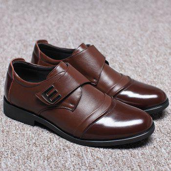 Men Classic Color Blocking Hook-Loop Business Casual Leather Shoes - BROWN 40