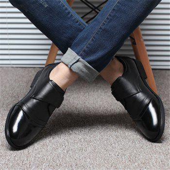 Men Classic Color Blocking Hook-Loop Business Casual Leather Shoes - BLACK 43