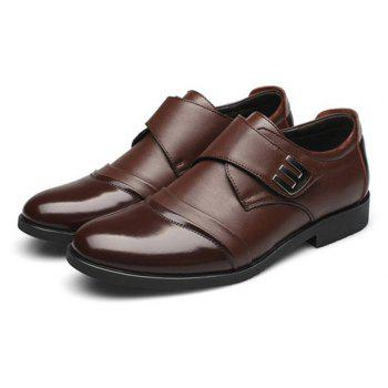 Men Classic Color Blocking Hook-Loop Business Casual Leather Shoes - BROWN 38