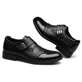 Men Classic Color Blocking Hook-Loop Business Casual Leather Shoes - BLACK 42