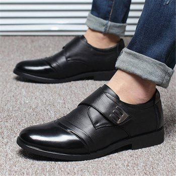 Men Classic Color Blocking Hook-Loop Business Casual Leather Shoes - BLACK 40