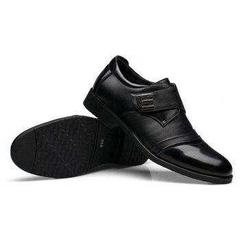 Men Classic Color Blocking Hook-Loop Business Casual Leather Shoes - BLACK 38