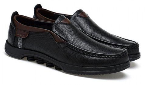 Men Large Size Cow Leather Slip On Soft Casual Shoes - BLACK 44