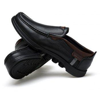 Men Large Size Cow Leather Slip On Soft Casual Shoes - BLACK 43