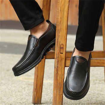 Men Large Size Cow Leather Slip On Soft Casual Shoes - BLACK 46
