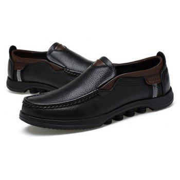 Men Large Size Cow Leather Slip On Soft Casual Shoes - BLACK 47