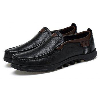 Men Large Size Cow Leather Slip On Soft Casual Shoes - BLACK 48