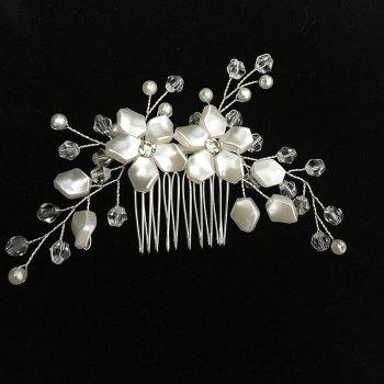 White Flower Shape Crystal Hair Comb Hair Jewelry for Wedding Bride - WHITE