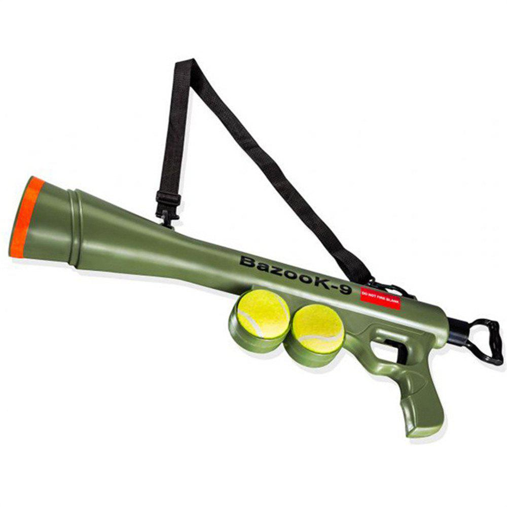 Tennis Ball Launcher Gun Rated Best Dog Toy Includes 2 Balls Sports Thrower Game - ARMYGREEN