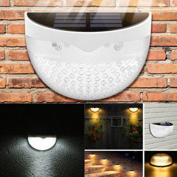 6 LED Super Bright Solar Powered Light Wall Mount Control Outdoor Garden Fence Lamp Quarter Ball Shape  -  WHITE - WHITE 1PC