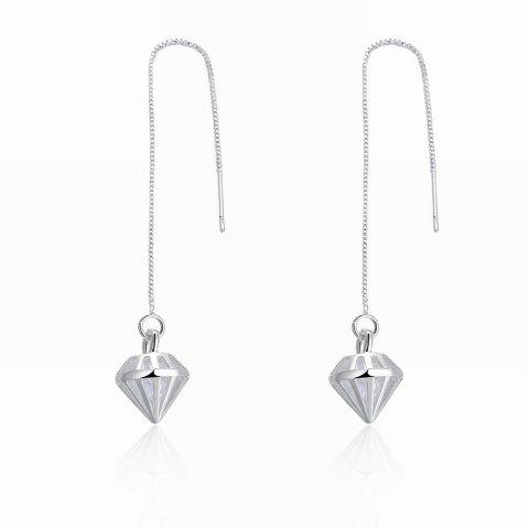 Korean Style Hollow Out Long Drop Earrings - SILVER