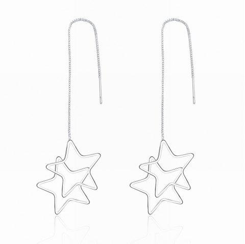 Creative Star Shape Long Drop Earrings Charm Jewelry - SILVER