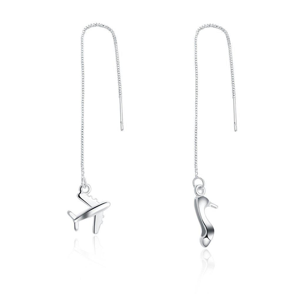 Lovely Plane and High Heel Shape Long Drop Chain Earrings - SILVER
