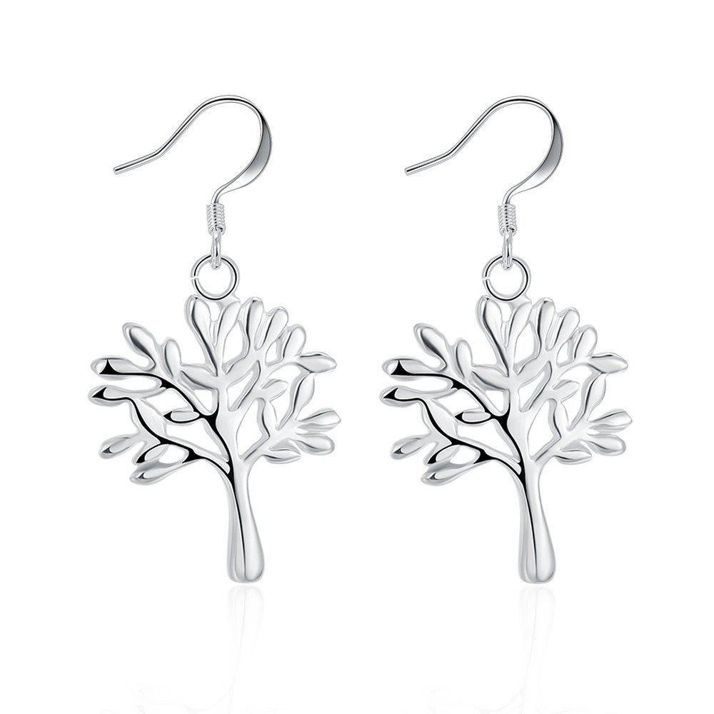 Creative Tree Shape Drop Earrings Charm Jewelry Gift For Women - SILVER