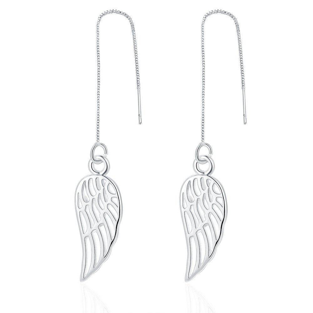Graceful Hollow Out Wing Shape Long Drop Earrings Chain Jewelry - SILVER