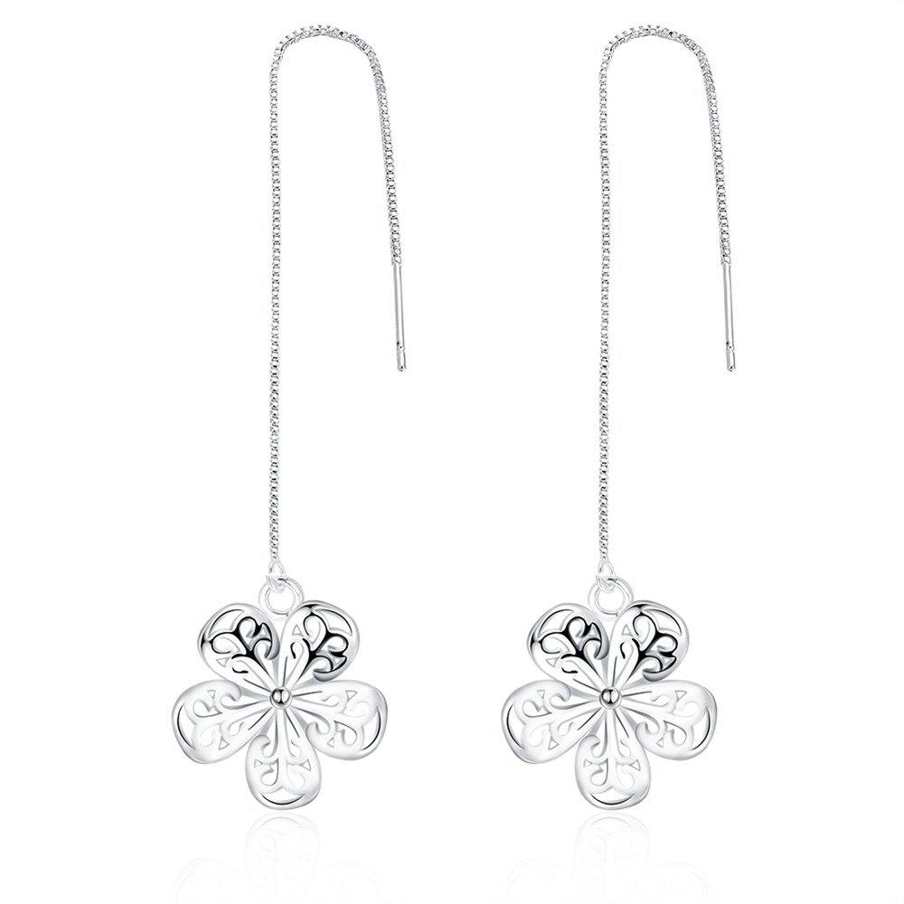 Graceful Hollow Out Flower Shape Long Chain Earrings Charm Jewelry - SILVER