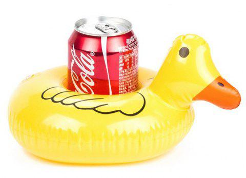 Aqua Ducklings Boat Inflatable Floating Row Cup Holder for Summer Pool Party Hawaii Beach - YELLOW