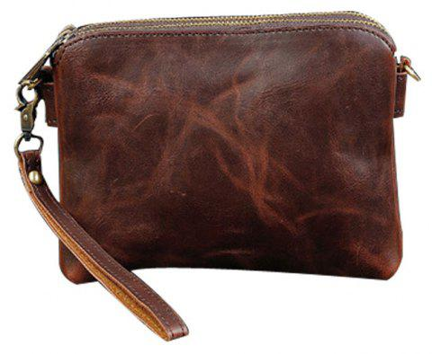 New Men Wallet Casual Business Vintage Crazy Horse Coin Pouch Double Zip Wristlet - MOCHA