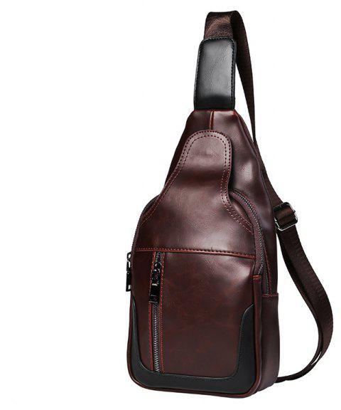 New Leather Men Vintage Crossbody Sling Bag Unbalance Backpack Fashion Pack - MOCHA