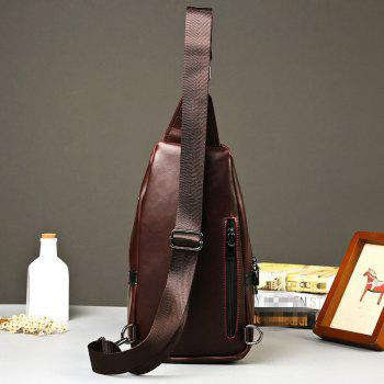 Crazy Horse Casual Sling Bag Outdoor Sports Fashion Unbalance Backpack Small Chest Pack - MOCHA