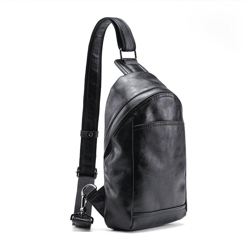 PU Leather Fashion Sling Bag Large Capacity Unbalance Backpack Chest Pack - BLACK