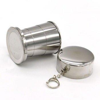 Collapsible Cup Stainless Steel Portable Folding Metal Telescopic Keychain Cups Mug for Excursion Outdoor Travel Camping - STAINLESS STEEL