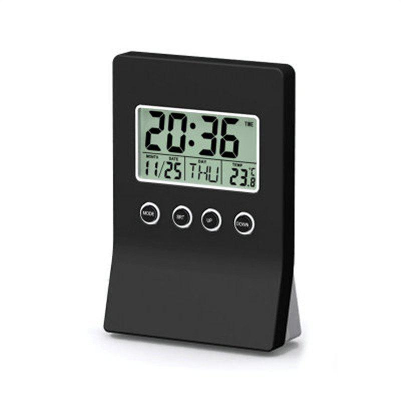 Dual Display Multi-Function Electronic Clock the Thermometer Calendar - BLACK