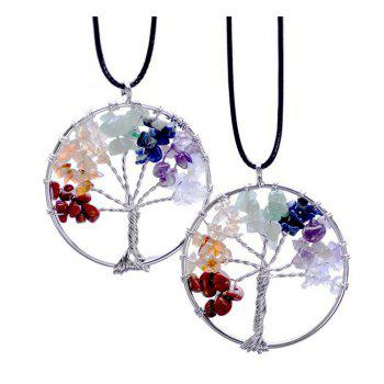 Natural Colorful Yoga Necklace Life Tree Energy Stone - COLORMIX
