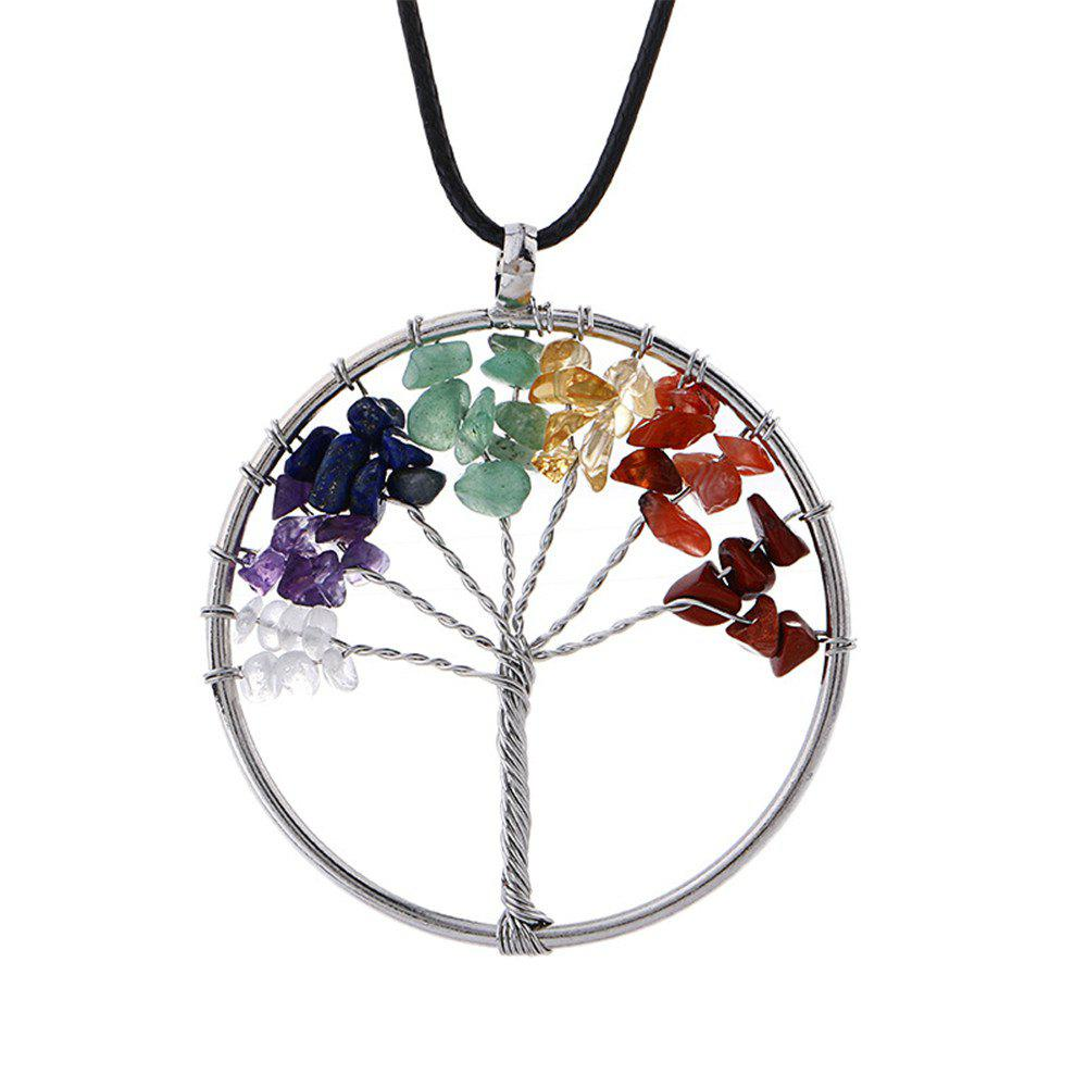 Collier de Yoga coloré naturel Pierre de l'énergie Life Tree - multicolore