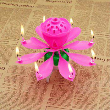 Macroart 14 Petals Flower Lotus Candle for Birthday Cake - PINK