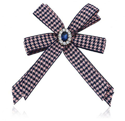 Diamond Brooch Flowers Bow Tie - PINK