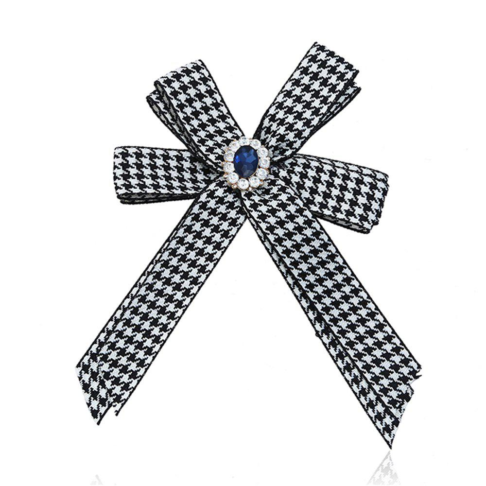 Diamond Brooch Flowers Bow Tie - BLACK WHITE
