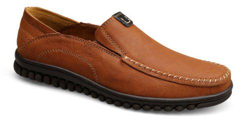 ZEACAVA Men Casual Business Handmade Soft Sole Flat Loafers - BROWN 43