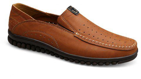 ZEACAVA Men Casual Business Handmade Soft Sole Flat Loafers - BROWN C STYLE 42