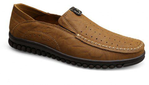 ZEACAVA Men Casual Business Handmade Soft Sole Flat Loafers - LIGHT BROWN 41