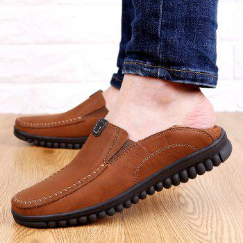 ZEACAVA Men Casual Business Handmade Soft Sole Flat Loafers - BROWN 42